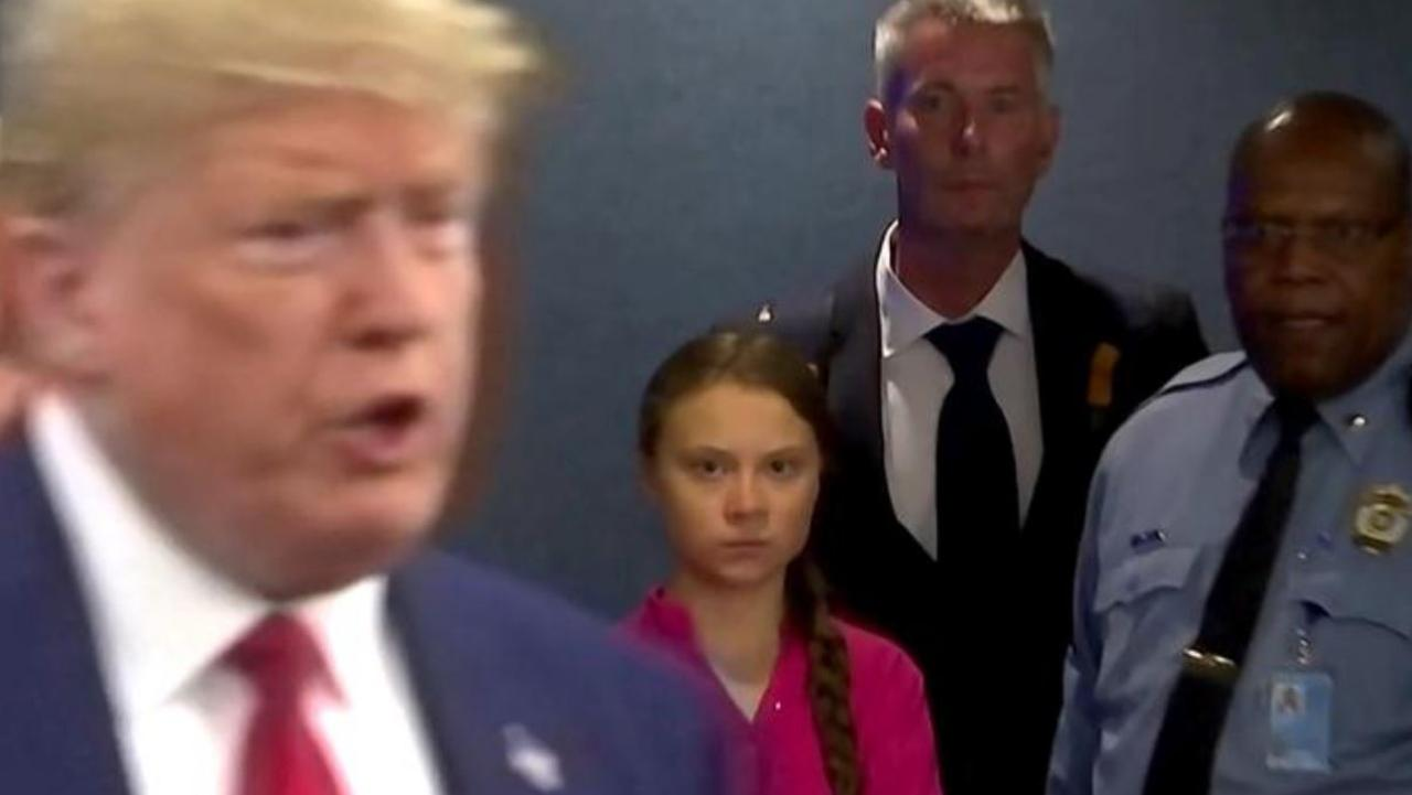 Greta Thunberg stares down the US President as he enters the United Nations summit in New York on September 23, 2019.
