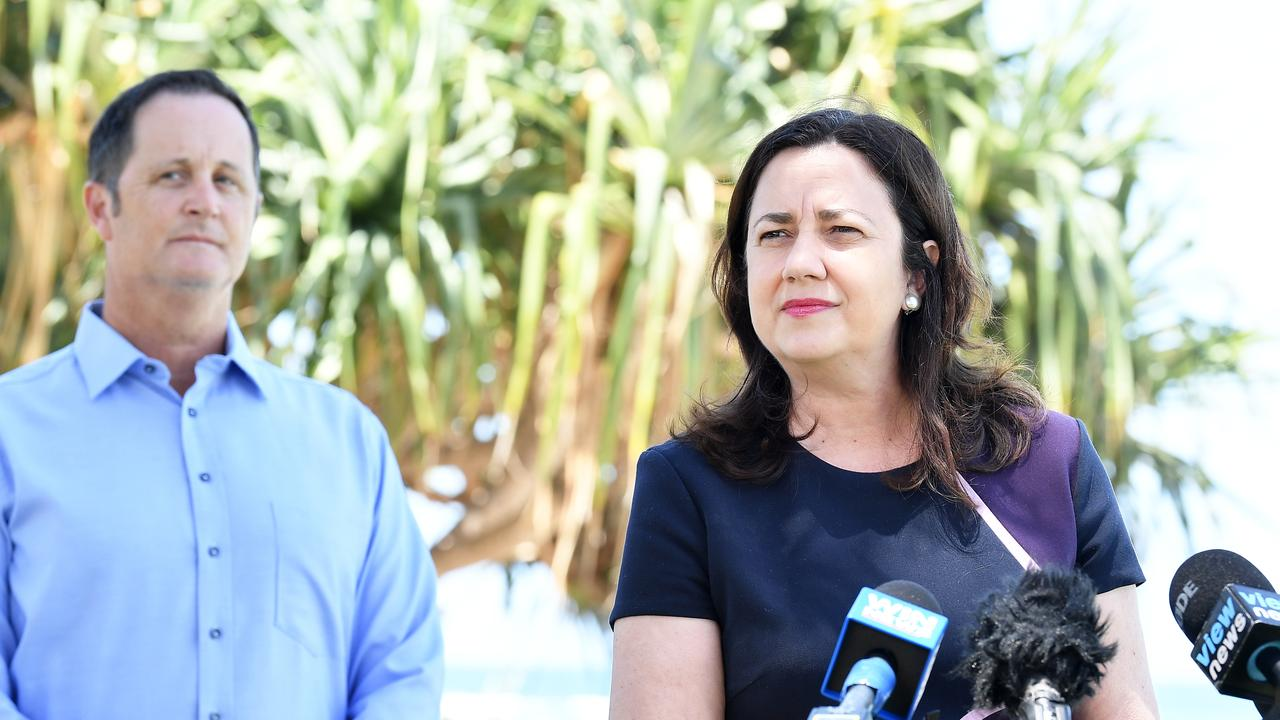 Premier Annastacia Palaszczuk holds a doorstop with Jason Hunt. Photo Patrick Woods / Sunshine Coast Daily.