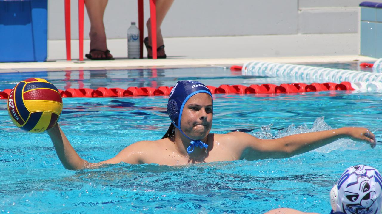 Kawana Wolves player Tora Majoros in action against North Brisbane Polo Bears during the opening rounds of the Water Polo Queensland Premier League at St Andrew's Anglican College. Picture: Tom Threadingham