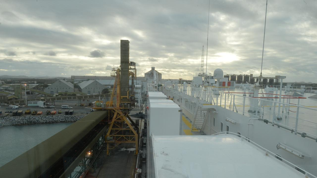 The view from the world's largest pure car and truck carrier, the Hoegh Trapper as it docks in the Port of Mackay.