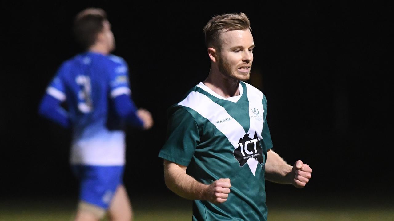 Frenchville skipper Jordan Miller scored four goals in his last outing against Bluebirds United a fortnight ago. Photo: Jann Houely