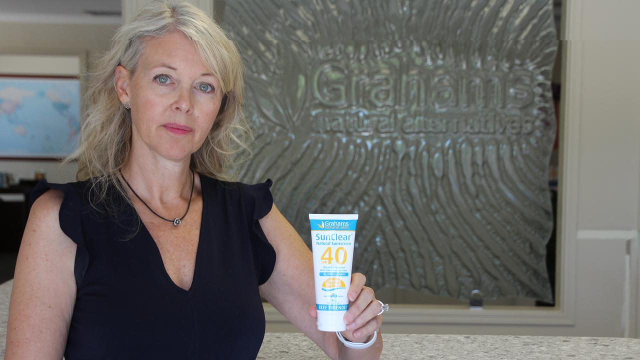Shannon Graham, of Grahams Natural Alternatives, with their new sunblock they wanted to market across Facebook and Instagram in time for summer, but the global giant has disabled their ads manager account. Photo: Emily Toxward.