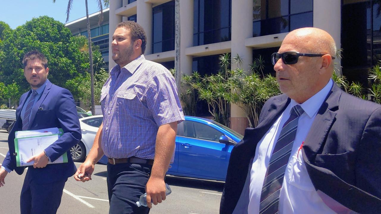 Sean Clift (middle) with his lawyers. PICTURE: TOBY VUE