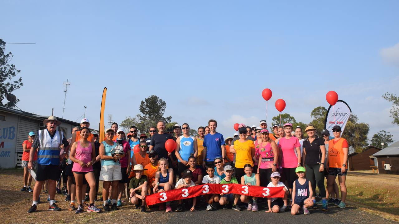 The Wondai Park run crew celebrating their third birthday with over 80 participants donning their running shoes. (Picture: Tristan Evert)
