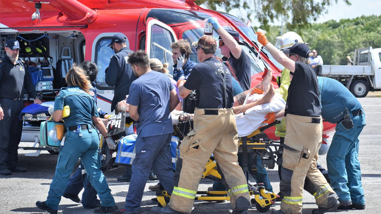 Rick was stabilised at Dungeness, Hinchinbrook, before he was airlifted to Townsville University in a critical condition following the mauling by a bull shark. He remains in a stable condition. Picture: Cameron Bates