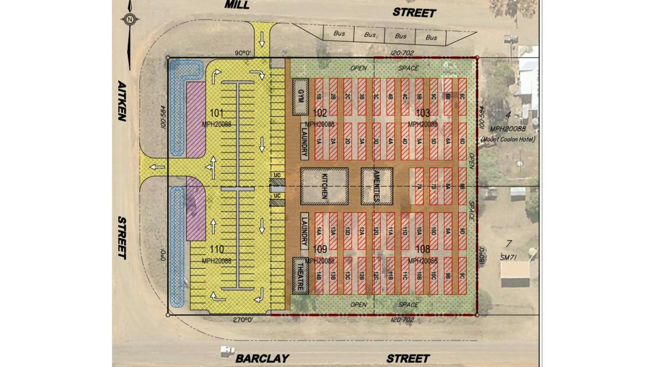 The proposed accommodation includes 48 demountable buildings set up across six lots on Barclay and Mill St, next to the Mount Coolon Hotel. Picture: Supplied