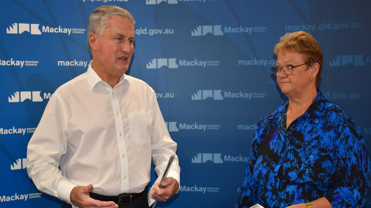 Mackay Regional Council Mayor and Local Disaster Management Group chair Greg Williamson with Deputy Mayor and LDMG's Human and Social Recovery Sub Group chair Karen May. Picture: Heidi Petith