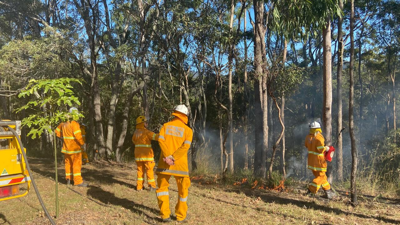 FIREFIGHTERS have been working around the clock to keep Western Downs properties safe as out of control blaze tears through Dunmore. Pic: RFS Queensland.