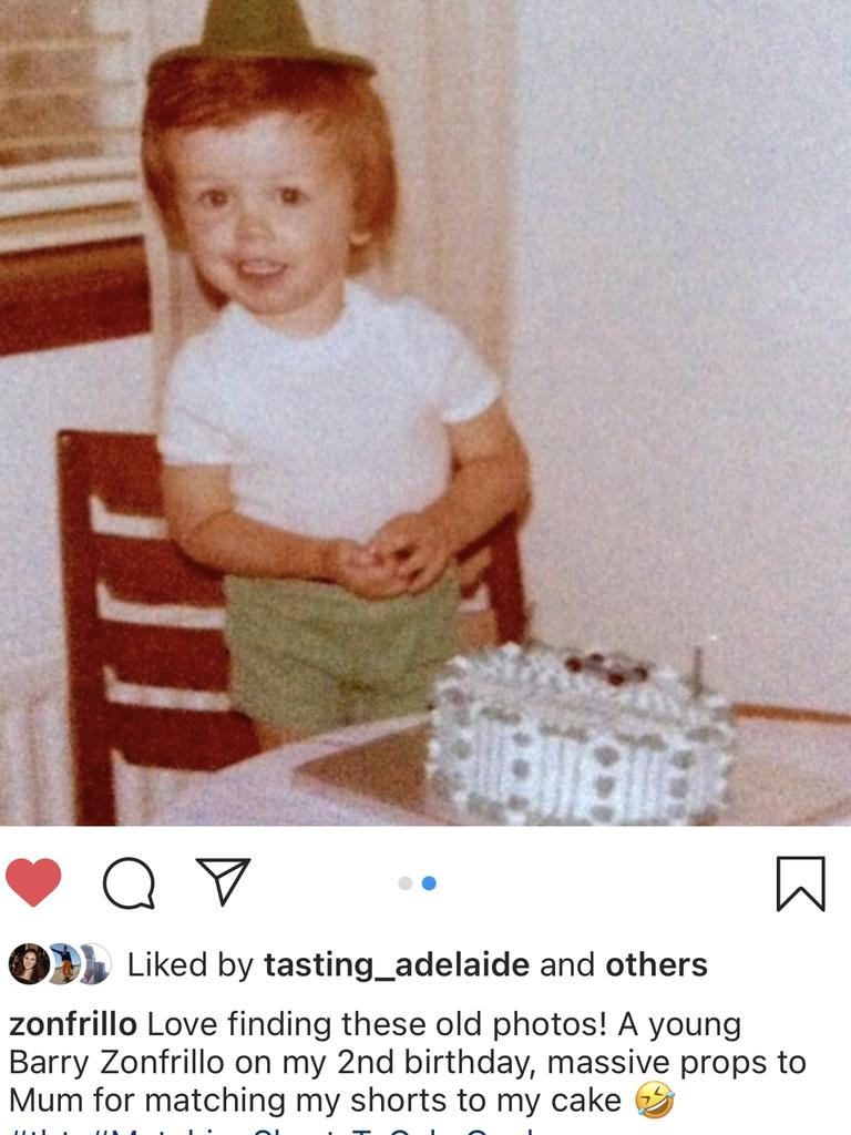 Barry Zonfrillo, now known as Jock Zonfrillo, on his second birthday. Picture: Instagram