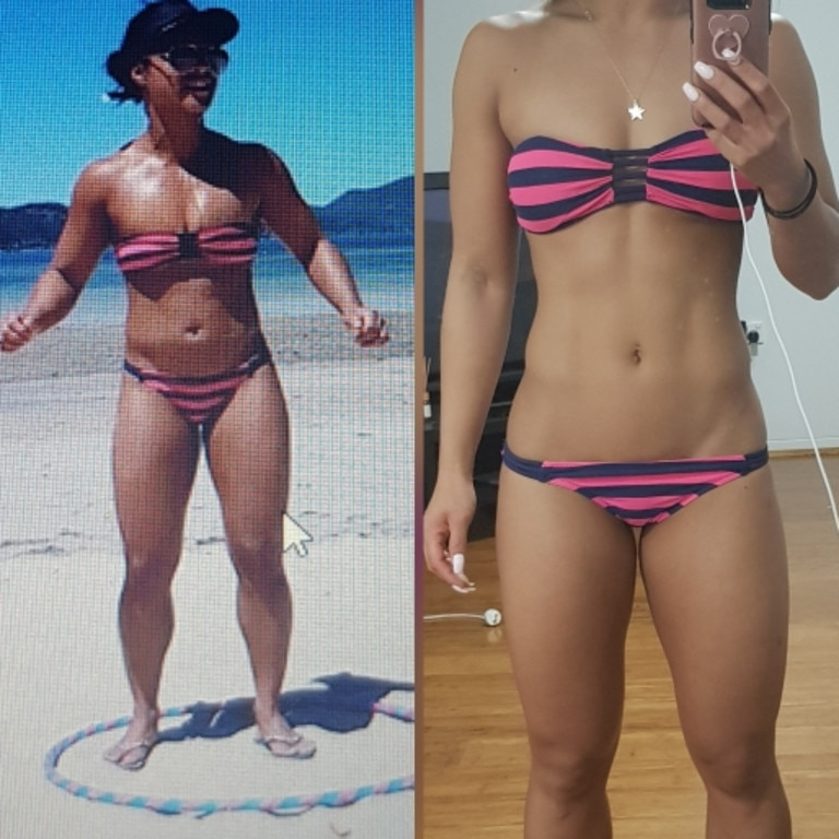 Michelle, from Sydney, went on to lose 6 per cent body fat, while gaining more muscle. Picture: Instagram/MichellePilao