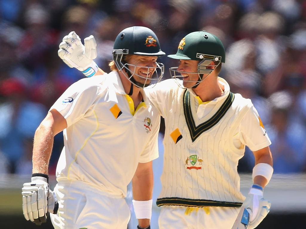 A happy moment between Shane Watson and Michael Clarke as they celebrate winning during day four of the Fourth Ashes Test Match between Australia and England in 2013. Picture: Quinn Rooney/Getty Images