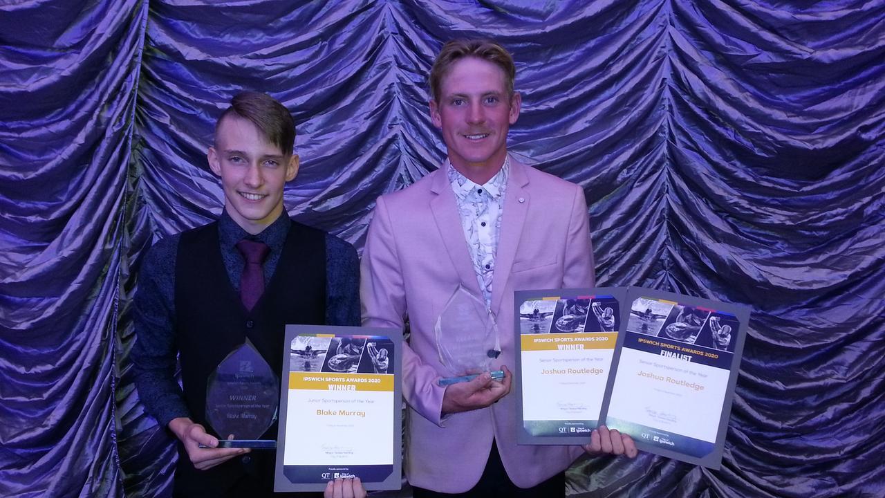 2020 Ipswich Sports Awards winners Blake Murray (Junior Sportsperson of the Year) and Joshua Routledge (Senior Sportsperson of the Year). Picture: David Lems