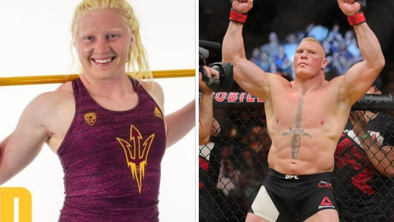 Brock Lesnar's daughter has the internet talking with her spooky likeness to her father — but it's her athletic results that have stunned fans.