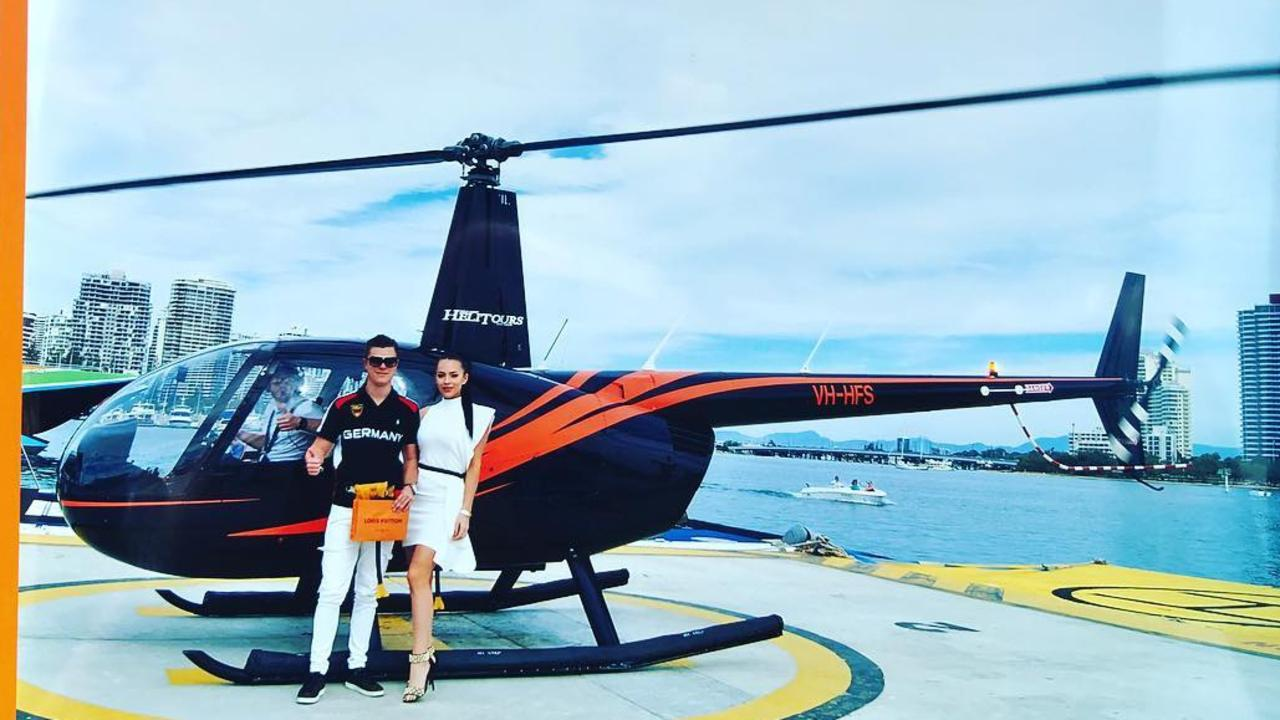 Tyson Scholz (pictured with partner Sophie Lee Anderson) frequently shows off his lavish lifestyle on social media. Picture: Instagram
