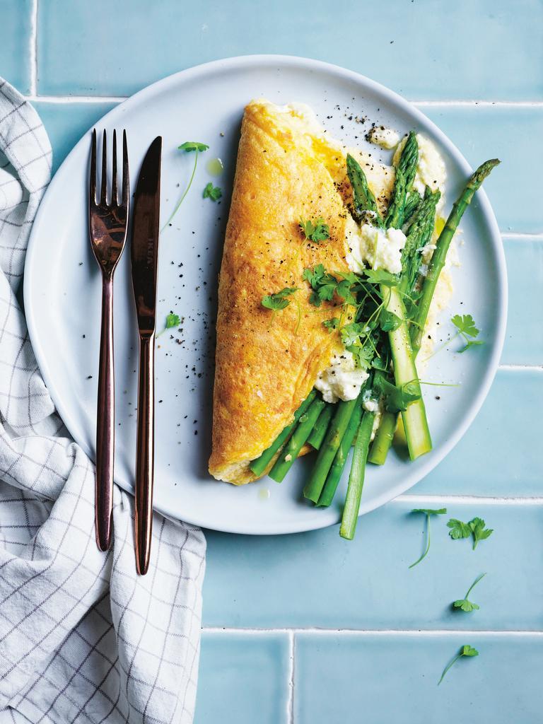 Three Ingredient Fluffy omelette from In Praise of Veg by Alice Zaslavsky. Picture: Ben Dearnley.