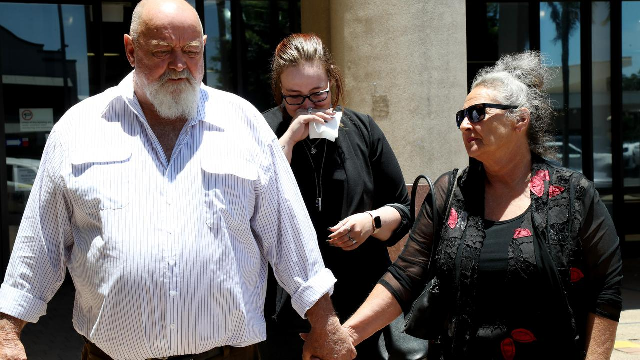 Jeffery Luhrs, Veronica Luhrs and Tasmin Luhrs outside Cairns Courthouse after the inquest into the death of their son and brother Seth James Luhrs. Picture: Stewart McLean