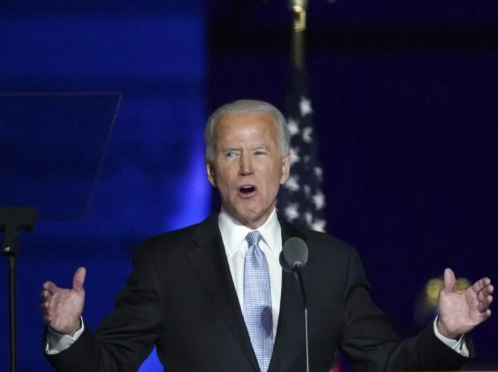 Joe Biden delivers his victory speech after winning the US presidency. Picture: Getty