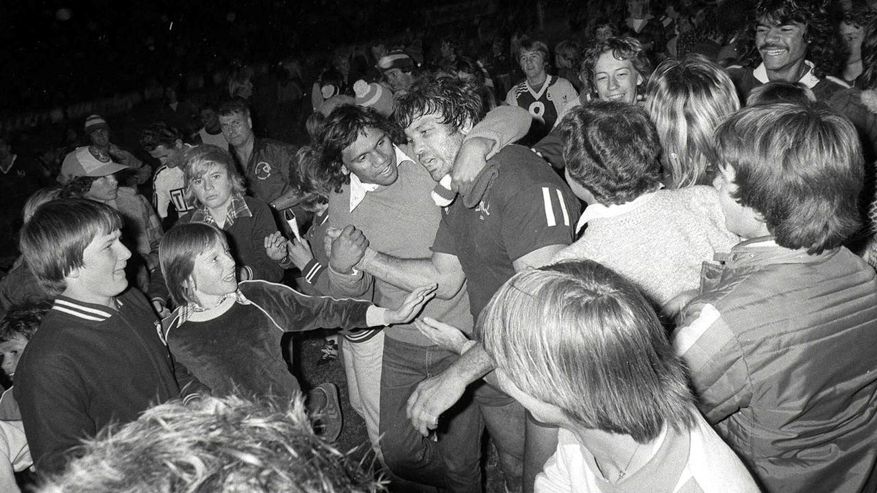 Queensland captain Artie (Arthur) Beetson is swamped by well-wishers after the first State of Origin match. Picture: Jim Fenwick