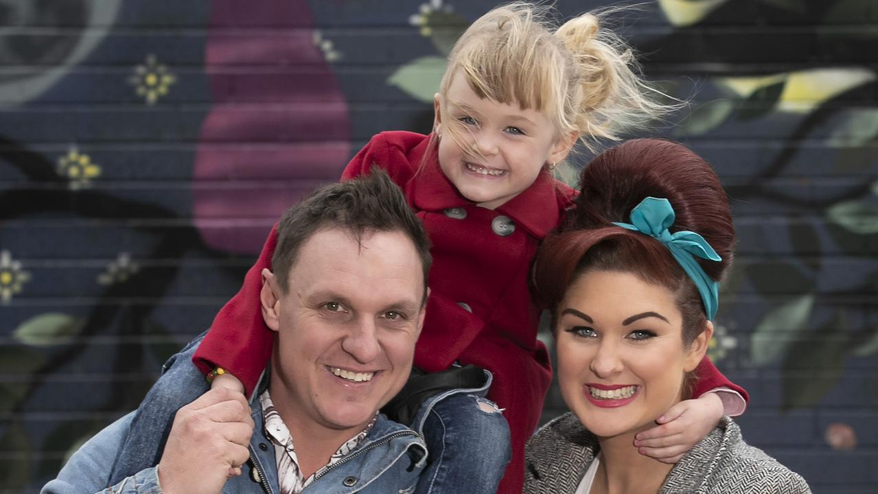 The Block's Jimmy and Tam with daughter Frankie during the last week of renovations in Brighton. Picture: Fiona Hamilton