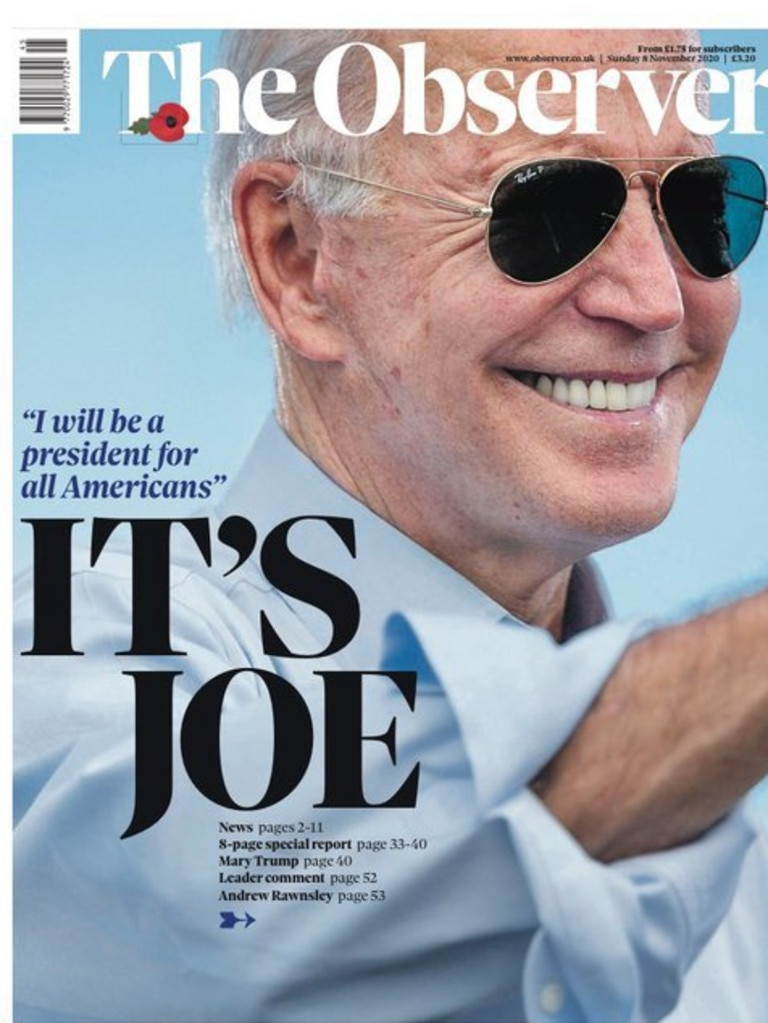 UK media outlet 'The Observer' front page following Joe Biden's election victory. Picture: Supplied