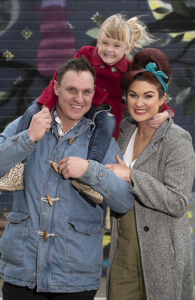 The Block's Jimmy and Tam with daughter Frankie. Picture: Fiona Hamilton