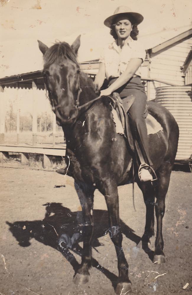 Mary Browning, Nee Emzin, on horseback in Augathella.