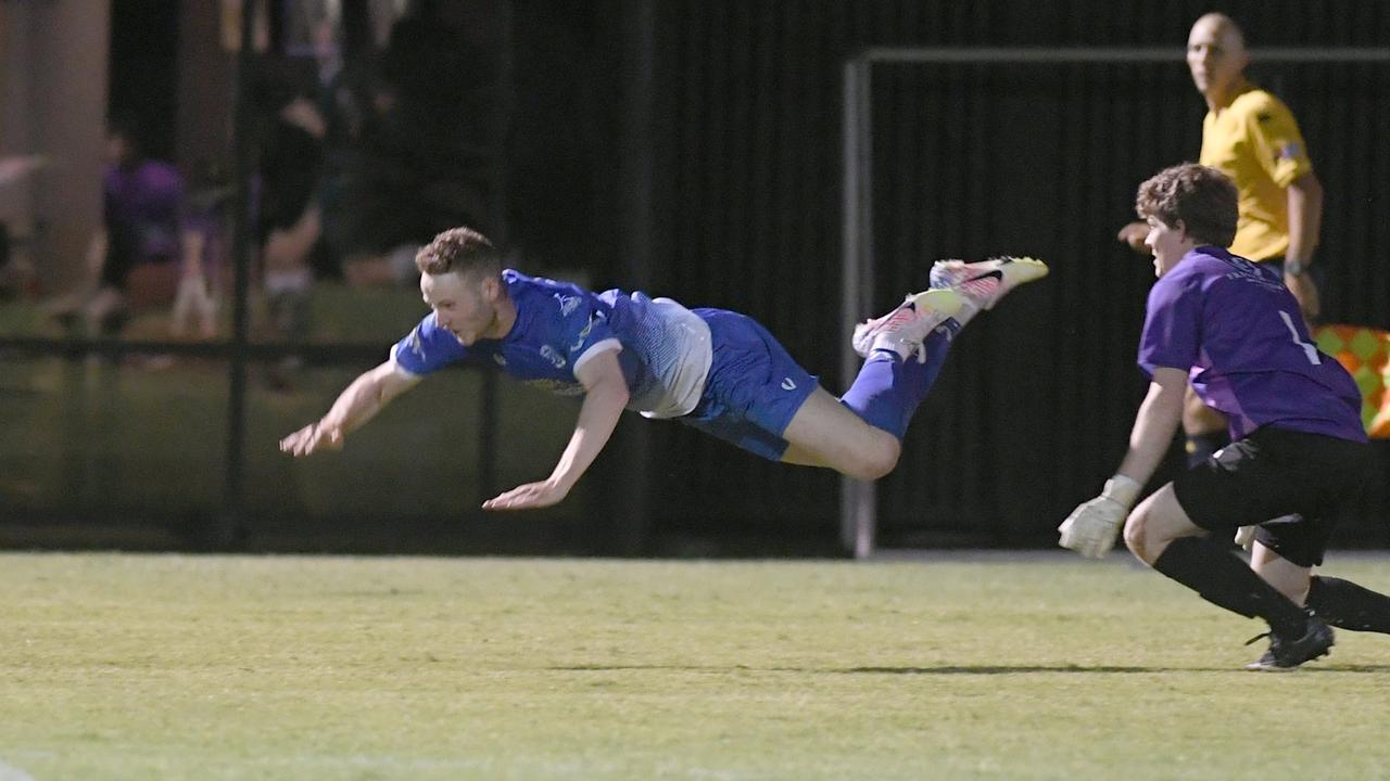 FOOTBALL CQ Premier League Div 1 Final: Bluebirds United's Liam McLean takes a tumble