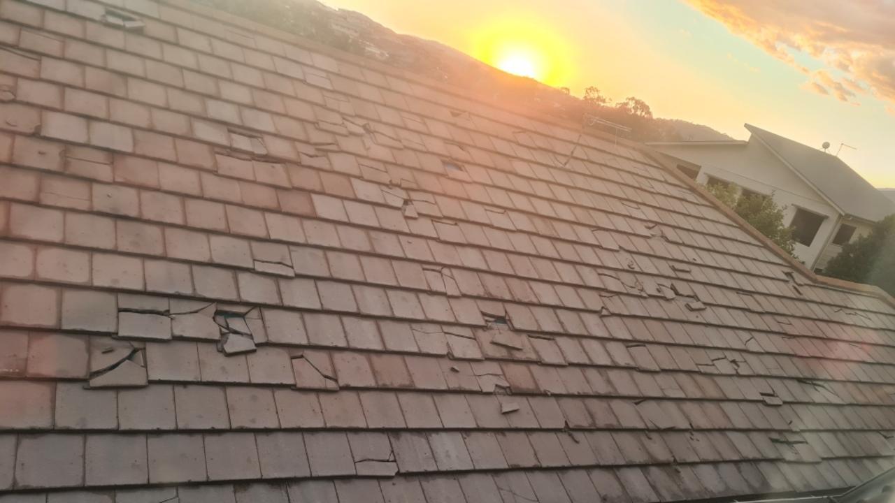 Hail damage at the home of Amanda Moran.