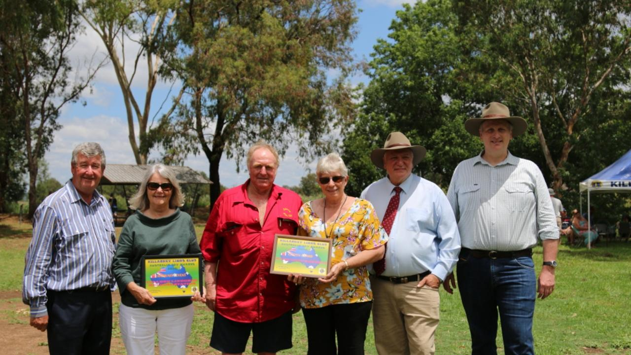 Former SDRC Rod Kelly, Community Event recipient Colleen Lindores, Killarney Lions President Ray Bodley, Killarney Lions Citizen of the Year Margaret Grayson, SDRC councillor (now Mayor) Vic Penissi and Member for Southern Downs James Lister at the the Killarney Lions Australia Day Breakfast in the Park in 2018.