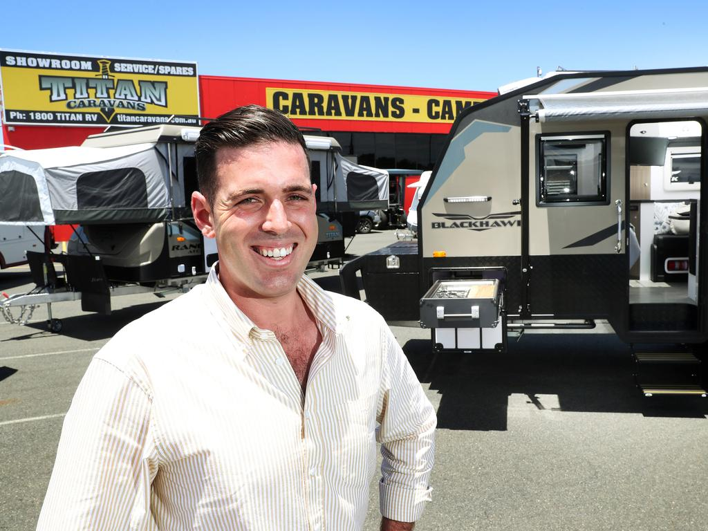 Titan Caravans owner James Creswick will employ 20 more staff and expand the factory to cope with a Covid inspired order of 100 vans from a major distributor, Burpengary East. Photographer: Liam Kidston.