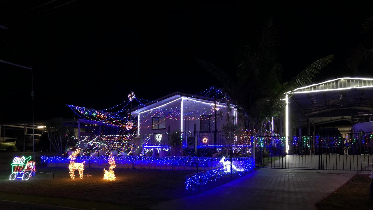Chris & Joanna Swift of 6 Bulloch Crt Collinsville were the winners of the annual Collinsville Christmas Light Competition in 2019. Picture: Supplied
