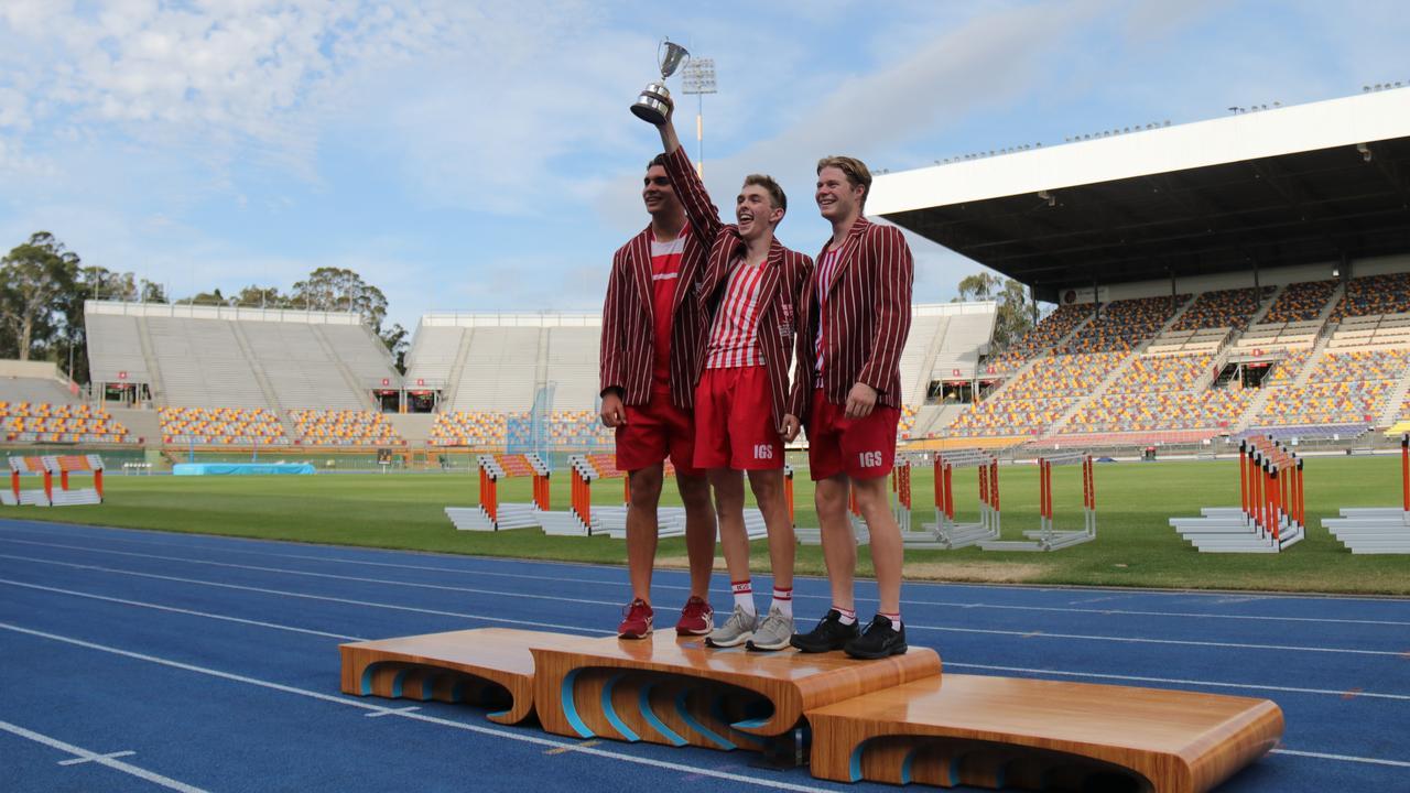 Ipswich Grammar students savour the school's 2020 recent track and field success.