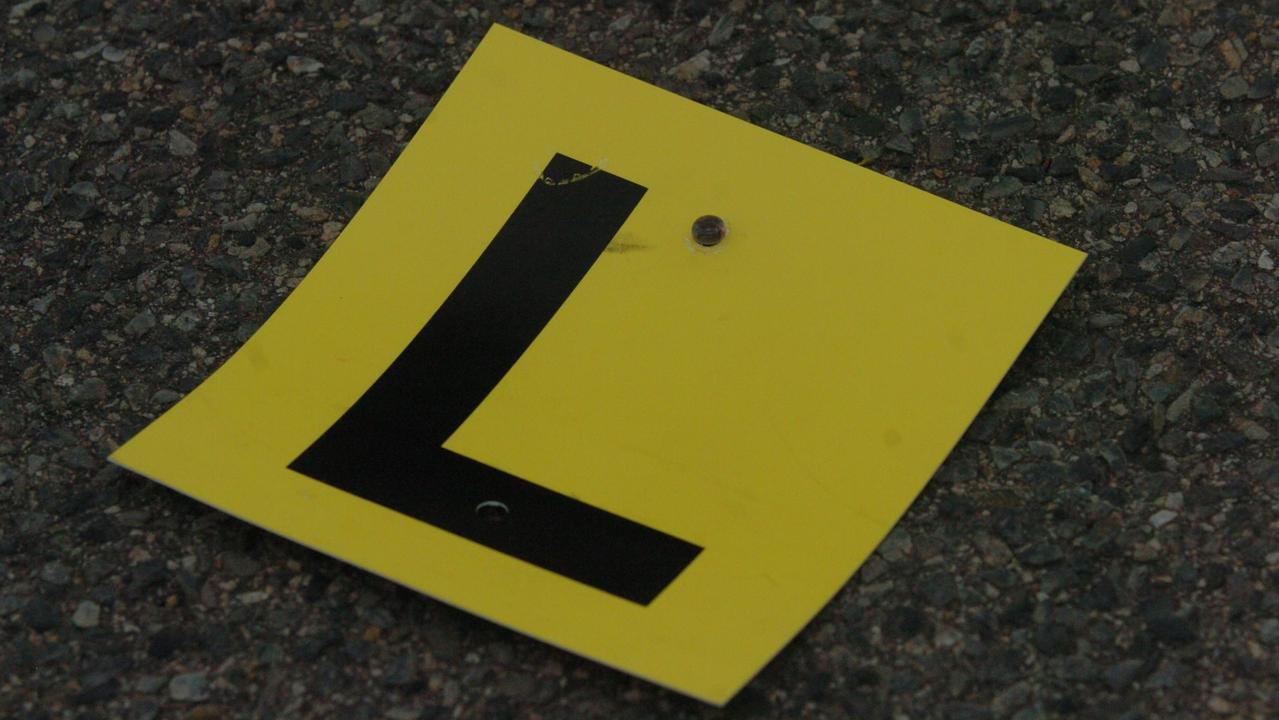 L-plate driving sticker.