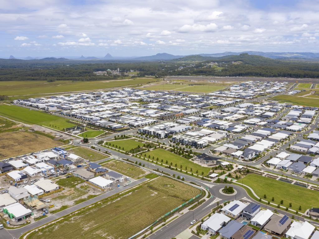 Aerial shots of Palmview's Harmony Estate which is one of only few suburbs where land is readily available on the Sunshine Coast.