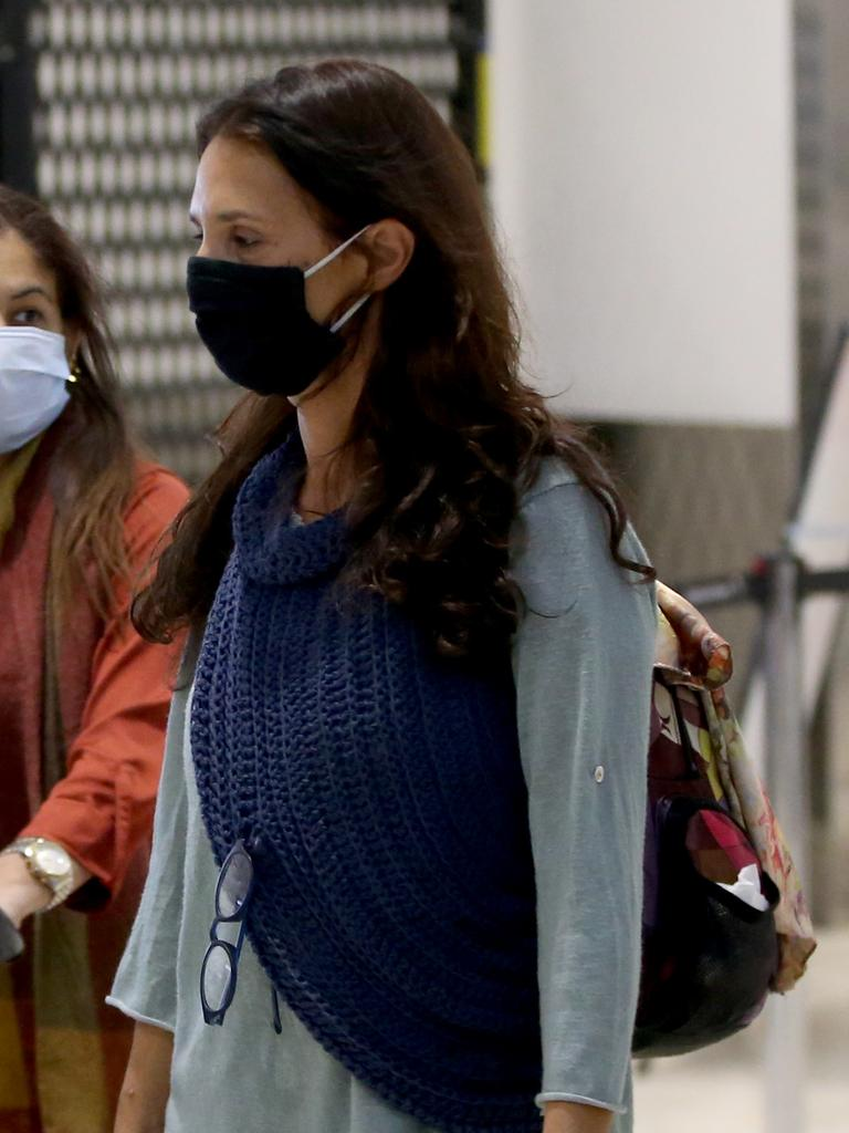 Sara Connor wears a face mask on arrival at Sydney Airport on July 18. Picture: Damian Shaw