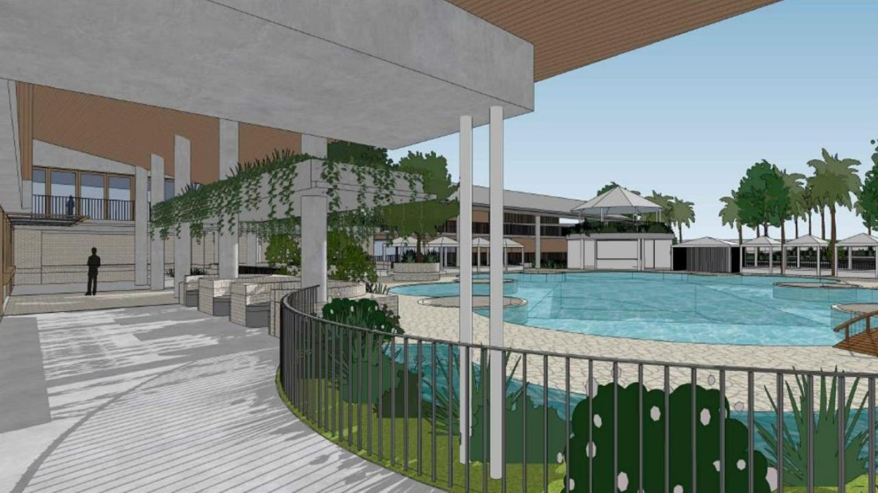 An application for the Royal Cannonvale Hotel will be discussed at the council meeting this week with plans showing a swimming pool and outdoor dining area. Picture: Supplied