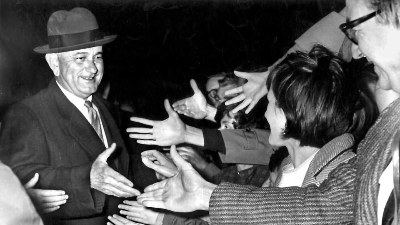 US President Lyndon Johnson is welcomed to Canberra during his visit to Australia in 1966. Picture: Supplied