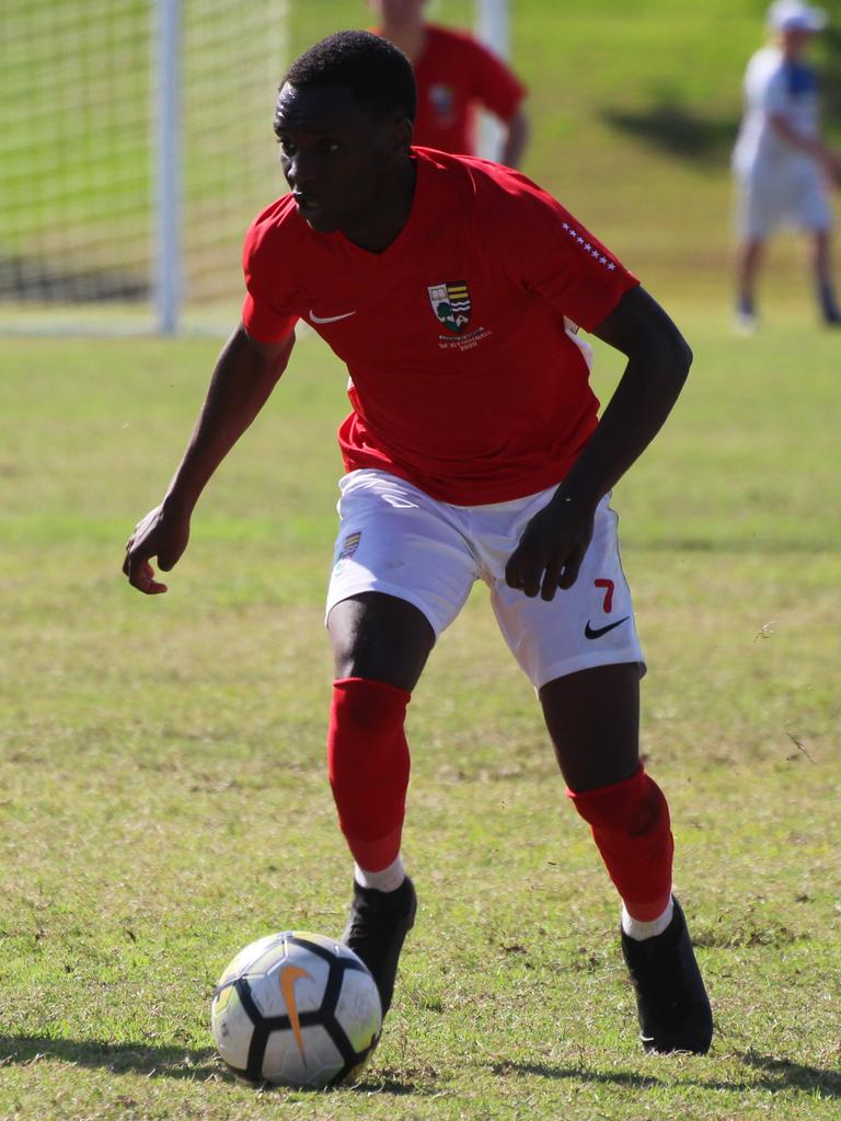 Ipswich Grammar School First XI footballer David Ishimwe scored a hat-trick against Churchie to lift his team to victory. That preserved an outstanding unbeaten record at Brassall.