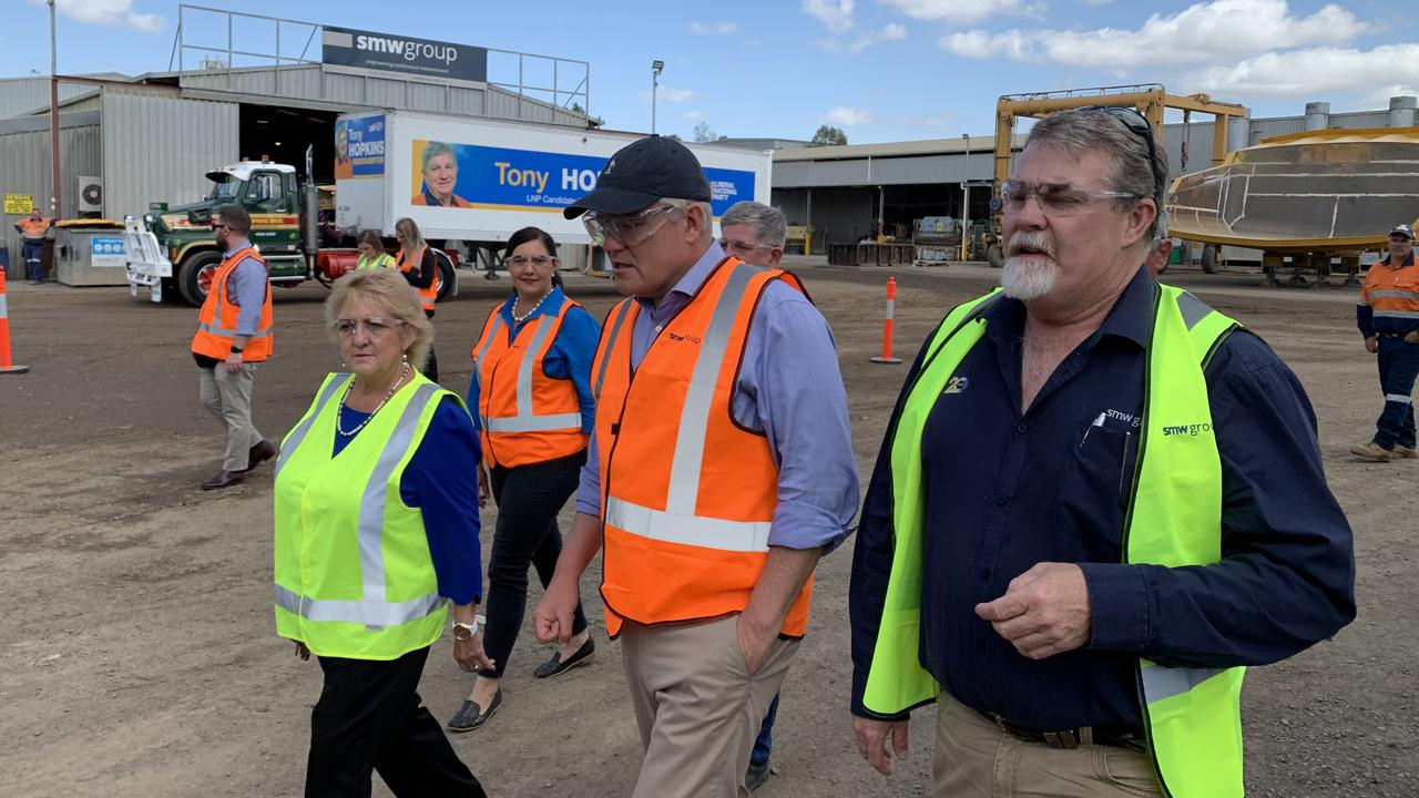 CQ VISIT: Prime Minister Scott Morrison was joined by Capricornia MP Michelle Landry and the region's LNP candidates Mirani's Tracie Newitt, Keppel's Adrian de Groot and Rockhampton's Tony Hopkins on a tour of the SMW Group's business in Parkhurst.