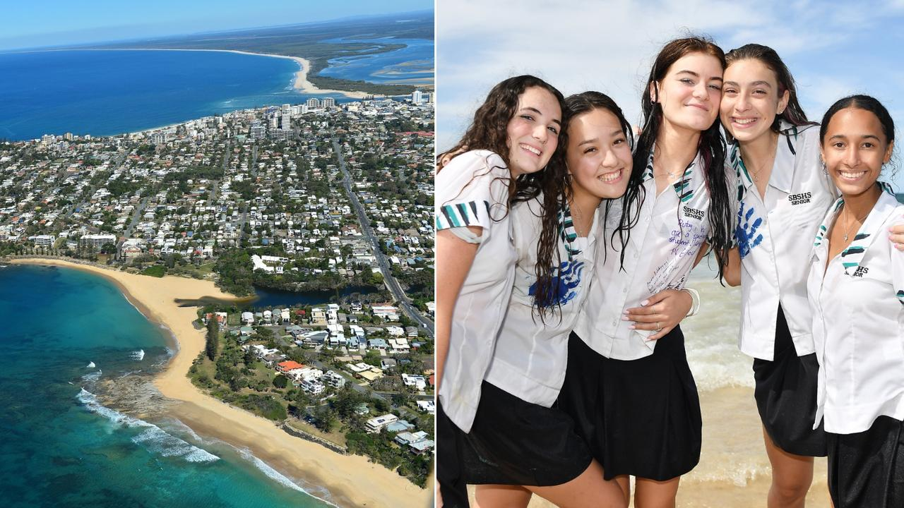 Here's what houses cost in the catchment areas for schools on the Sunshine Coast. Pictured are Sunshine Beach SHS Year 12 students Lily Heeney, Chaise Johnston, Ruby Allen, Isabella Tillsley and Daneell Johnson. Photo: Patrick Woods