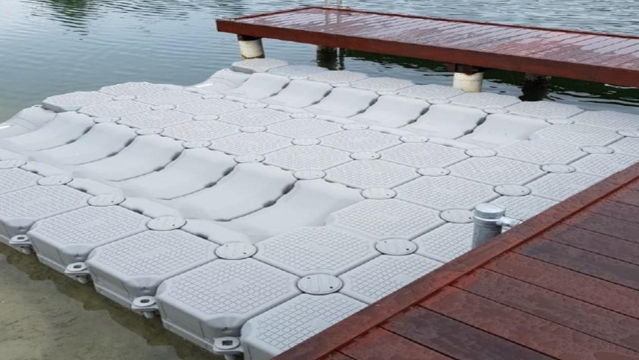 The jet ski boat pontoons.