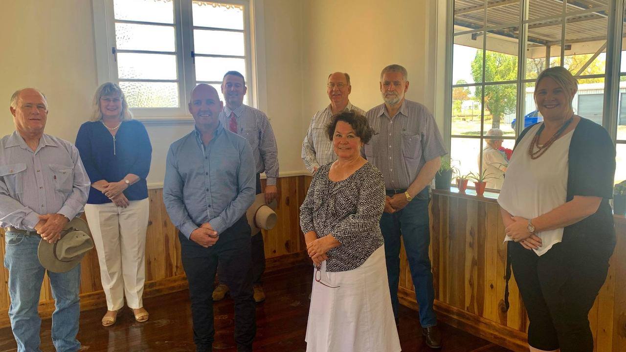 Maranoa Regional Councillors at the opening of the office to the Butter Factory. George Ladbrook, Warrego MP Ann Leahy, John Birkett, Tyson Golder, Mark Edwards, Geoff McMullen, Julie Guthrie and Joh Hancock.