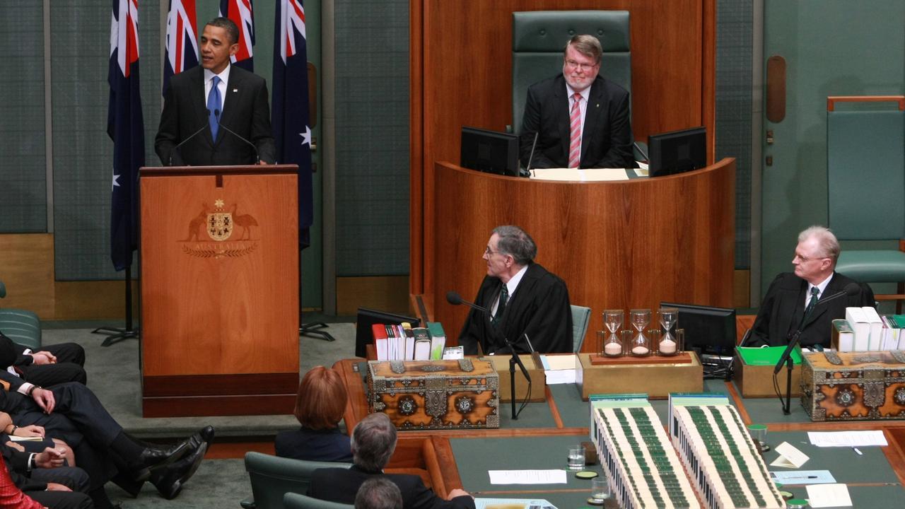 US President Barack Obama addresses the Australian Parliament in 2011.