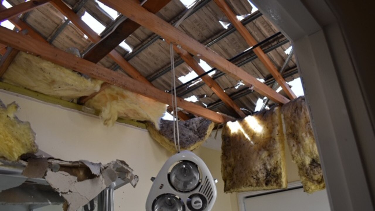 The ceiling completely collapsed in the Springfield Lakes home of Peter and Kathy Morcus.