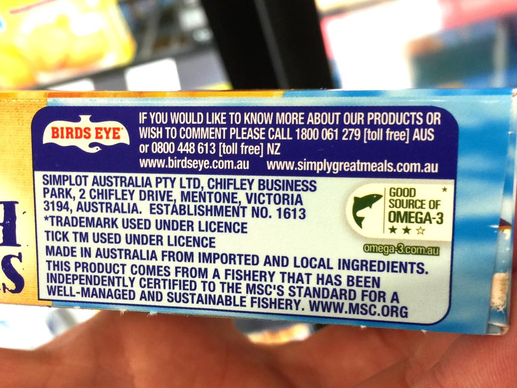 Birds Eye products are among those that will no longer bear the 'Made in Australia' label following an ACCC investigation. Picture: Peter Wallis