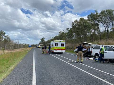 A woman was seriously injured after her caravan was clipped by a passing truck on the Bruce Highway near Waverley Creek, St Lawrence. Picture: RACQ CQ Rescue