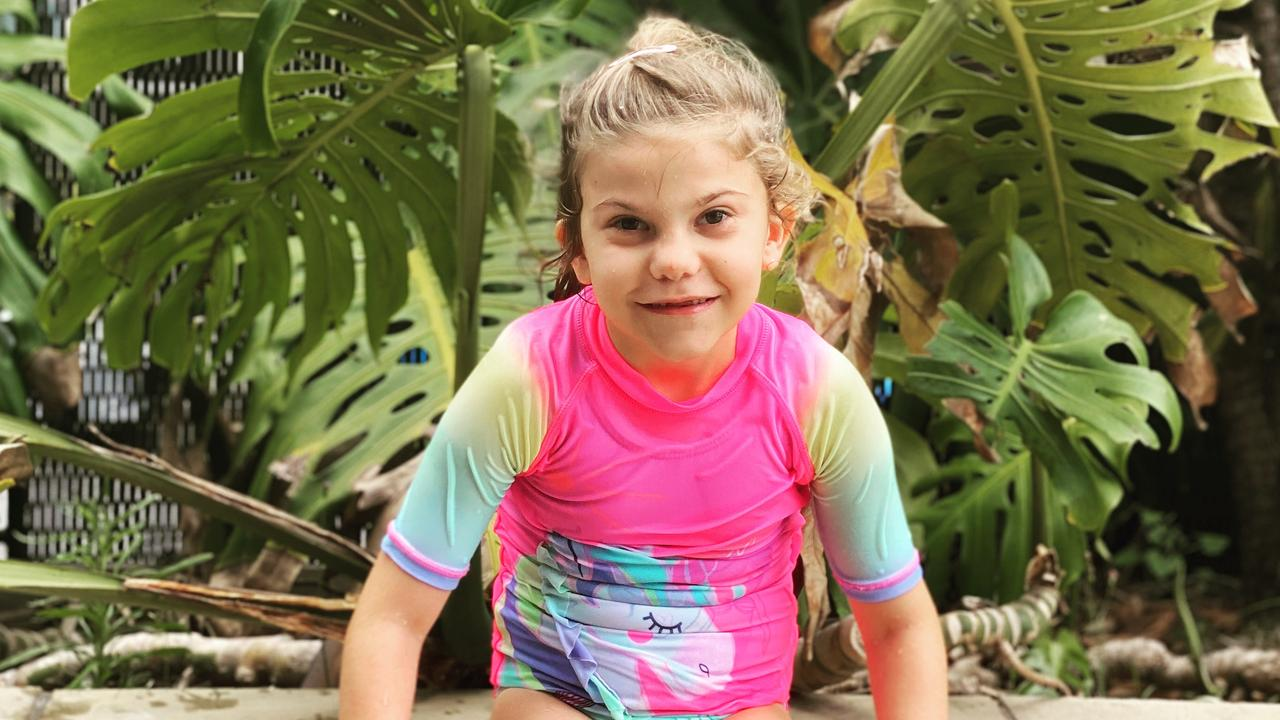 Sunshine Coast girl Bella Brown, 7, lives with a rare genetic syndrome and is also recovering from open heart surgery.
