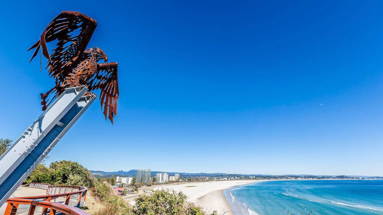 Used in tourism brochures - the eagle sculpture overlooks the beach from Kirra Hill. Picture: Destination Gold Coast