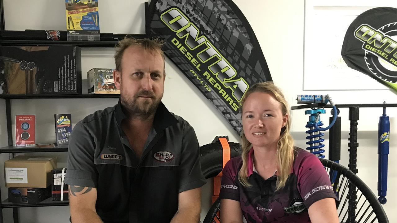 OnTrak Diesel repair Director Steven Hagger and Administration Manager Jessica Hagger. Picture: Andrew Sorensen