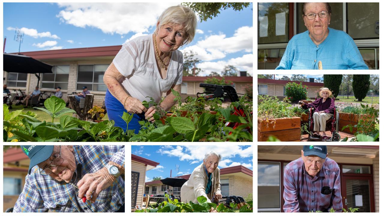 Carinity Karinya Place, Laidley, aged care residents in their garden. Photos: Ali Kuchel